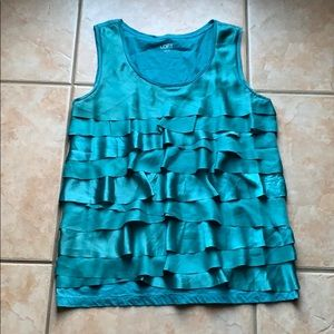 3/$30 LOFT Teal Tiered Ruffle Tank Shell Large